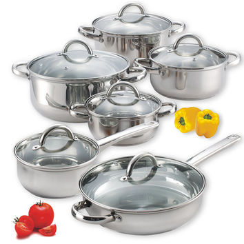 Cook N Home 12-piece Stainless Steel Cookware Set | Overstock.com Shopping - The Best Deals on Cookware Sets