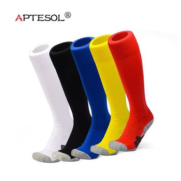 APTESOL Unisex Kids Adult Knee High Athletic Soccer Socks, Towel Bottom Compression Long Sport Football Socks