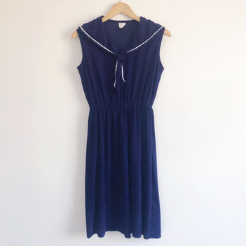70s Vintage Nautical Blouson Dress