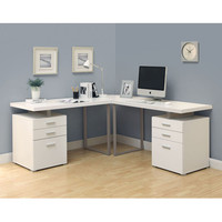 Monarch Specialties I 7027-3 White 3 Piece Hollow-Core L-Shaped Desk Set