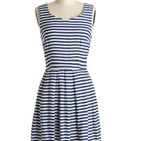 ModCloth Nautical Mid-length Sleeveless A-line All the Right Stripes Dress