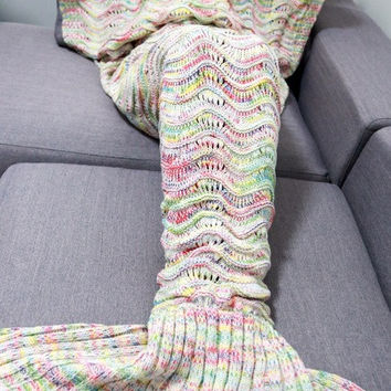 200*90 Adult Long Sweater Home Cover Handmade Knitted Crochet Shape Tail Mermaid Blanket Sleeping Sofa Blanket Sweater SVB030790
