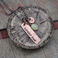 Without Fear Necklace in Copper with Green Jade and Heart Drops, as Designed for Stana Katic