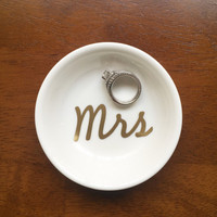 "Personalized ""Mrs"" Ring Dish, Custom Wedding & Engagement Ring Holder, Jewelry Tray"