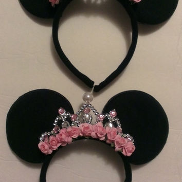 Gorgeous Minnie Mouse Ear Headband with Custom Jewel Crown many styles LOOK at photos