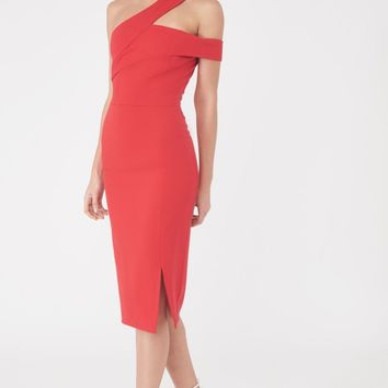 One Shoulder Detail Midi Dress in Red