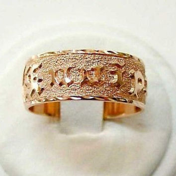 14K PINK ROSE GOLD PERSONALIZED 8MM HAWAIIAN PLUMERIA SCROLL RING RAISED LETTER