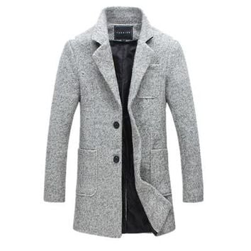 Mens Overcoat 40% Wool Thick Pea Trench Coat