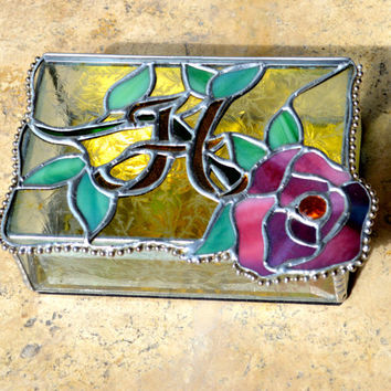 Floral Stained Glass Jewelry Box Monogrammed Initial, Vanity Accessory, Unique,Functional...A Great Gift!  Order Early!