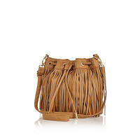 River Island Girls brown fringe duffle bag