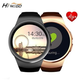 KW18 Smart Watch Round Screen Hiwego Brand Bluetooth 4.0 Anti-lost Alert Remote Camera Heart Rate Tracker Black/Silver/Golden