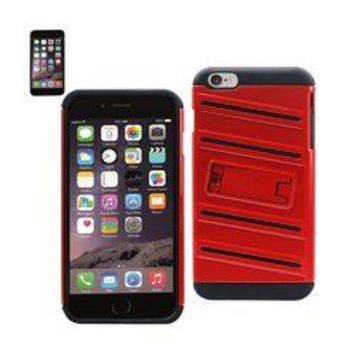 REIKO IPHONE 6 PLUS HYBRID FISHBONE CASE WITH KICKSTAND IN BLACK RED