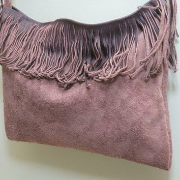 Lavender Suede Purse - Plum Handbag - Fringed Purple purse