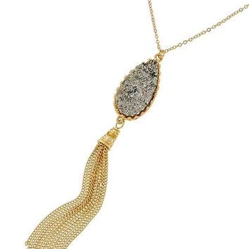 Gold & Black Druzy Crystal Pendant Chain Tassel Necklace
