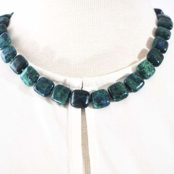 Azurite Chrysocolla Green Square Beaded Necklace
