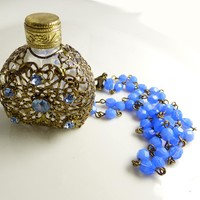 Vintage Czech Glass Gold Filigree Perfume Bottle Necklace
