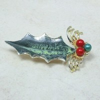 Large Holly Leaf Brooch Goldtone Red Green Pearl Handpainted 80mm