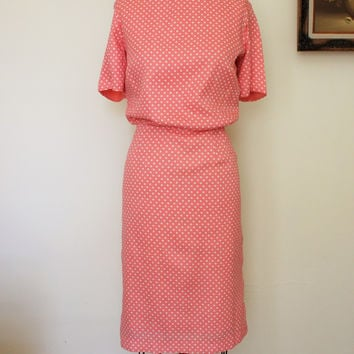 Vintage 1950s Peach Polkadot Dress by Puritan Forever Young, Large Size