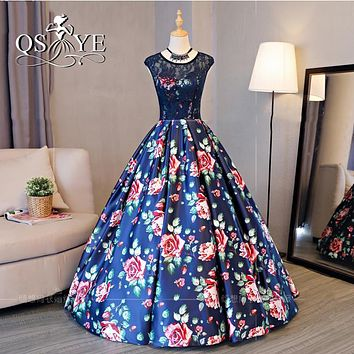 2017 New Arrival 3D Floral Print Long Prom Dresses Robe de Soiree Sexy Backless Floor length Satin Formal Evening Party Gown