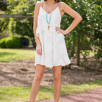 White Chiffon Embroidered Dress