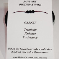 January Birthday Wish Bracelet - Garnet Stone