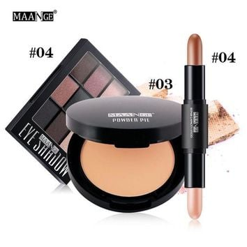 LMF57D MAANGE Face Makeup Set 9Color Eyeshadow Palette Oil Control Concealer Powder and Double Head Hightlight Contour Stick 170627