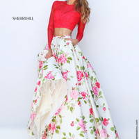 Sherri Hill 50261 Long Sleeve Crop Top Floral Print Prom Dress