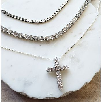 Sterling Silver Cross Layered Necklace Set