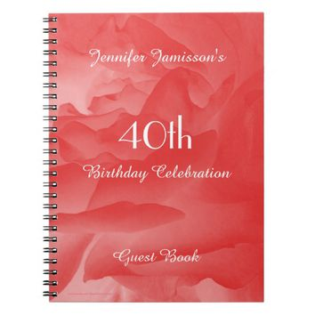 40th Birthday Party Guest Book, Coral Pink Rose Notebook