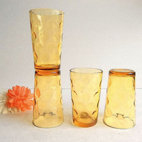 Hazel Atlas amber topaz golden yellow optic dot pattern set 4 juice glasses 1960's Retro Mid Century drinking glasses TWO SETS AVAILABLE