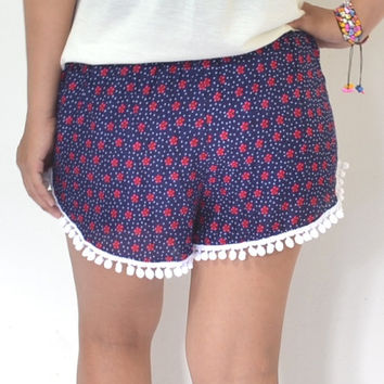 Pom pom shorts Red Floral Summer shorts Cute white pom pom trim, relax shorts, Please read carefully for our measurement size as item detail