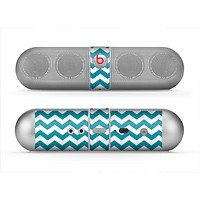 The Subtle Blue & White Chevron Pattern V2 Skin for the Beats by Dre Pill Bluetooth Speaker