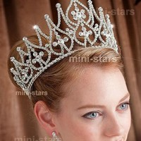 Awesome Full Round Tiara Crown Clear Crystal Austrian Rhinestones Diamante Headpiece Wedding Pageant Prom Party Hair Jewelry
