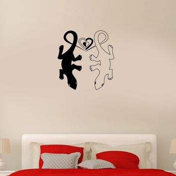 Wall Decal Lizard Animals Symbol of Love Couple Heart Vinyl Sticker (ed946)