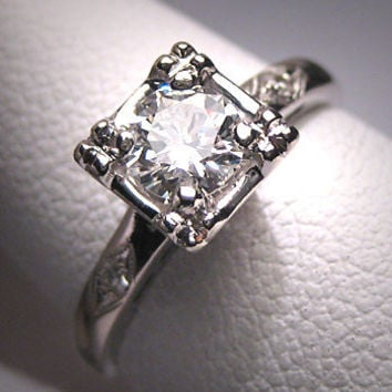 Antique Diamond Wedding Ring 1/2 Carat Vintage Art Deco