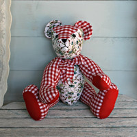 Red gingham teddy bear Floral fabric teddy bear Handmade bear Home decor Collectors stuffed animals Birthday gift Christmas gifts Present