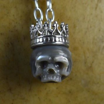 Hand Carved Grey Pearl Skull Wearing Sterling Silver Crown Necklace