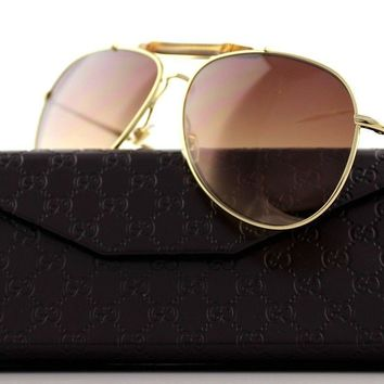 RARE NEW Authentic GUCCI Gold Brown Bamboo Aviator Sunglasses GG 2235/S J5GOH