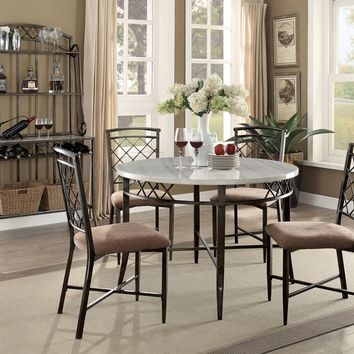 "Acme 73000-02 5 pc Aldric 45"" round faux marble top and metal frame dining table set"