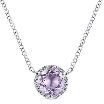 Gabriel Round Cut French Rose Amethyst & Diamond Halo Pendant