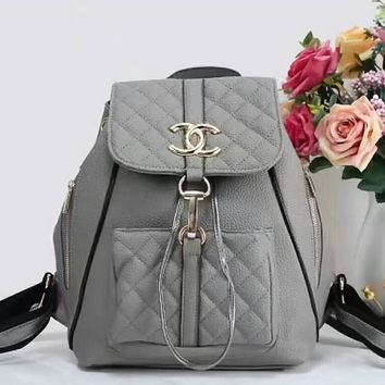 Chanel Logo Lichee Grain Women Casual School Bag Leather Backpack Grey I-LLBPFSH