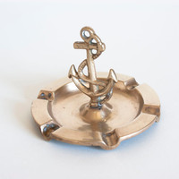 Mid Century Brass Anchor Ash Tray Vintage Nautical Trinket Tray Ring, Nautical Gold Tone Dish