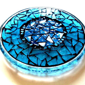 Stained Glass Mosaic Plate // Mosaic Candle Holder // Mosaic Trivet // Mosaic Suncatcher // Ice Blue // Decorative Plate // Housewarming