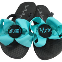 Turquoise Bow Groom's Mom Flip Flops for the Wedding