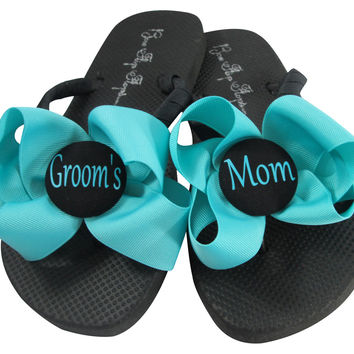 Turquoise Mother of the Groom Wedding Flip Flop Sandals/ many colors