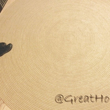8ft Crochet Natural Jute  Rug,  Braided Round Rug, Large Area Rug
