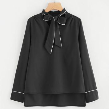 Contrast Binding Tie Neck High Low Blouse