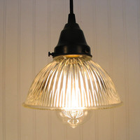 Cary's Mill V Clear Holophane PENDANT Light with BULB by LampGoods