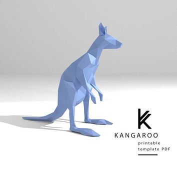 Printable DIY template (PDF).  Kangaroo low poly paper model. 3D paper trophy. Origami.