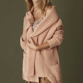 Best Selling Pink High Low Shawl Collar Cardigan